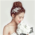 Pearls Beaded Alloy Flower Bride Headbands Women Wedding Hair Accessories - White