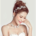 Pearls Beaded Flower Alloy Soft Chain Bridal Headbands Hair Accessories - White