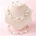 Pearls Crystals Ceramic Flower Bridal Jewelry Soft Tiaras Necklace Earring Women Wedding Sets 3pcs - White