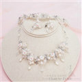 Pearls Crystals Ceramic Flower Bridal Jewelry Tiaras Necklace Earring Women Wedding Sets 3pcs - White