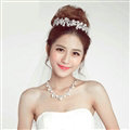 Pearls Flower Rhinestone Bridal Jewelry Tiaras Necklace Earring Women Pageant Sets 3pcs - White