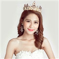 Pearls Rhinestone Baroque Bridal Jewelry Tiaras Earring Wedding Beauty Pageant Sets 2pcs - Gold