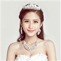 Pearls Rhinestone Bridal Jewelry Tiaras Necklace Earring Women Pageant Sets 3pcs - White