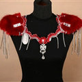 Personality Bridal Fox Fur Crystal Lace Shoulder Chain Sexy Queen Wedding Accessories - Red