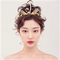 Retro European Bride Hand Alloy Swan Pearl Crown Women Wedding Hair Hoop - Gold