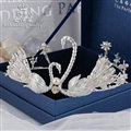 Retro European Bride Hand Alloy Swan Pearl Crown Women Wedding Hair Hoop - Sliver