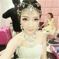 Rhinestone Alloy Flower Pearls Tassel Bohemia Bridal Frontlet Stage Hair Accessories - White