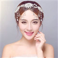 Rhinestone Alloy Flower Tassel Beads Bohemia Bridal Frontlet Headbands Hair Accessories - White