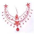 Rhinestone Alloy Flower Tassel Bohemia Bridal Frontlet Stage Headband Hair Accessories - Red