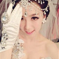Rhinestone Alloy Flower Tassel Bohemia Bridal Frontlet Stage Headband Hair Accessories - White