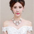 Rhinestone Ceramic Yarn Flower Bridal Tiaras Necklace Earring Women Wedding Jewelry Sets 3pcs - Beige