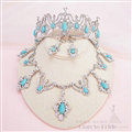 Rhinestone Gem Pendant Bridal Jewelry Tiaras Necklace Earring Women Wedding Sets 3pcs - Blue