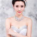 Rhinestone Pearls Alloy Flower Bridal Jewelry Tiaras Necklace Earring Women Wedding Sets 3pcs - White