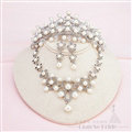 Rhinestone Pearls Hollow Flower Bridal Jewelry Tiaras Necklace Earring Women Wedding Sets 3pcs - White