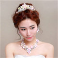 Rhinestone Yarn Flower Bridal Tiaras Necklace Earring Women Wedding Jewelry Sets 3pcs - Pink