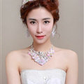 Rhinestone Yarn Flower Bridal Tiaras Necklace Earring Women Wedding Jewelry Sets 3pcs - Purple
