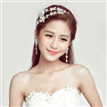 Romantic Alloy Flower Bridal Jewelry Headband Earring Women Weeding Sets 2pcs - White