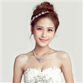 Romantic Alloy Flower Bridal Jewelry Tiaras Necklace Earring Women Weeding Sets 3pcs - White