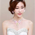Romantic Rhinestone Yarn Flower Bridal Tiaras Necklace Earring Women Wedding Jewelry Sets 3pcs - Pink