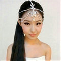 Simple Rhinestone Alloy Flower Bohemia Bridal Frontlet Stage Headpiece Hair Accessories - White