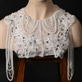 Top Quality Bridal Lace Flower Crystal Beads Pearls Tassel Wedding Shoulder Chain Accessories