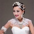Unique Feather Rhinestone Bridal Pearls Necklace Wedding Egyptian Shoulder Chain Accessories