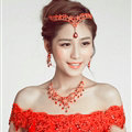 V Shape Flower Alloy Rhinestone Bohemia Bridal Frontlet Pendant Headbands Hair Accessories - Red