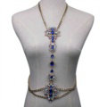 Bling Rhinestone Crystal Body Chain Bikini Beach Party Swimsuit Necklace Jewelry - Blue