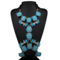 Bling Rhinestone Flower Belly Body Chain Bikini Beach Party Decro Necklace Jewelry - Blue