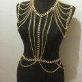 Calssic Alloy Shoulder Necklace Showgirl Multi layer Belly Waist Body Chains Jewelry - Gold