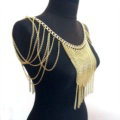 Calssic Alloy Shoulder Necklace Showgirl Multi layer Heavy Tassel Body Chains Jewelry - Gold