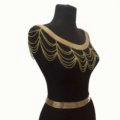 Calssic Alloy Shoulder Necklace Showgirl Multi layer Wave Tassel Body Chains Jewelry - Gold