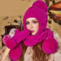 Calssic Twist Knitted Wool Caps Women Winter Warm Long Fur Ball Earmuffs Scarf Hats - Rose