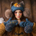 Cute Embroidered Squirrel Wool Beanies Caps Winter Warm Cat Ears Knitted Fur Ball Hats - Blue