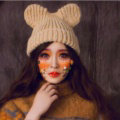 Cute Girls Bear Ears Flanging Knitted Wool Hats Winter Warm Thicken Beanies Caps - Beige
