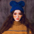 Cute Girls Bear Ears Flanging Knitted Wool Hats Winter Warm Thicken Beanies Caps - Blue