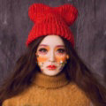 Cute Girls Bear Ears Flanging Knitted Wool Hats Winter Warm Thicken Beanies Caps - Red