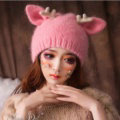 Cute Girls Cat Ears Antlers Knitted Wool Hats Winter Warm Rabbit Fur Beanies Caps - Pink