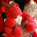 Cute Little Elk Antlers Knitted Wool Beanies Caps Winter Warm Devil Ears Fur Ball Hats - Red