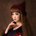 Cute Magic Witch Spire Curling Knitted Wool Hats Women Winter Warm Beanies Caps - Red