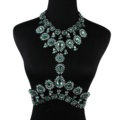 Elegant Women Crown Crystal Pendant Necklace Evening Party Dress Decro Body Chain - Green