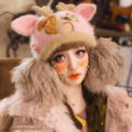 Embroidered Antlers Cat Ears Knitted Wool Beanies Caps Warm Rabbit Fur Ball Hats - Pink
