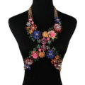Exaggerate Crystal Flower Pendant Necklace Bikini Beach Dress Decro Body Chain Jewelry - Colour