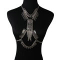 Exaggerate Rhinestone Retro Tassel Pendant Necklace Bikini Showgirl Body Chains Jewelry - Sliver