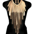 Exaggerated Long Tassel Choker Necklace Showgirl Punk Dress Decor Jewelry - Gold