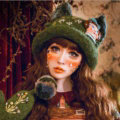 Exclusive Design Crystal Bow Girl Knitted Wool Beanies Caps Winter Warm Cat Ears Hats - Green