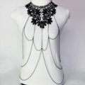 Fashion Belly Waist Body Chain Sexy Crystal Lace Choker Necklace Harness Jewelry - Black