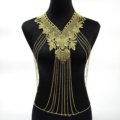 Fashion Belly Waist Body Chain Tassel Lace Flower Choker Necklace Jewelry - Gold