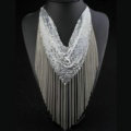 Fashion Triangle Tassel Collar Necklace Scarf Showgirl Dress Decor Jewelry - Sliver