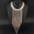 Fashion Women Long Tassel Metal Collar Necklace Punk Sweater Decor Chain - Sliver